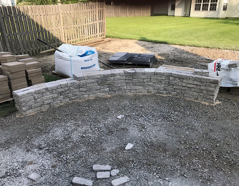beginning of construction for patio