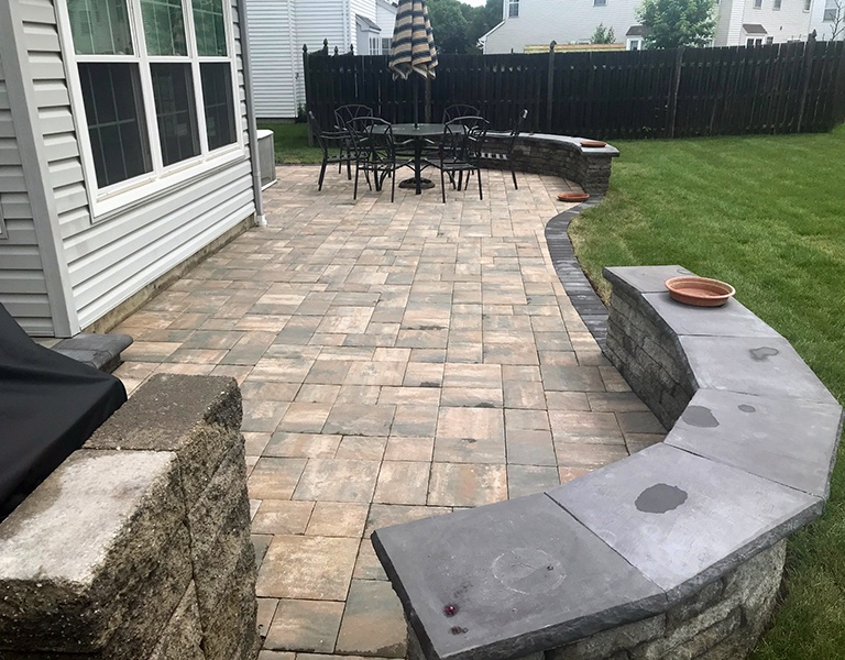 completed backyard paver patio